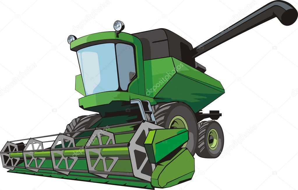 Old green harvesting agricultural combine — Stock Vector #5621655