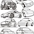 Car contour set - Stock Vector