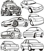 Car contour set — Stock Vector