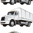 Stock Vector: Three lorries