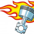 Piston in fire — Stock Vector