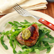 Royalty-Free Stock Photo: Beef steak with arugula salad and pesto