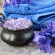 Spa still life .Bath lilac salt, towel and flowers — Stock Photo