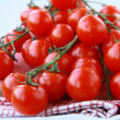 Tomatoes Cherry fresh ripe on the kitchen towel — Stock Photo #5467815