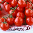 Tomatoes Cherry fresh ripe on the kitchen towel — Stock Photo #5471543