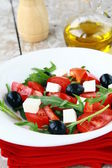 Greek Mediterranean salad with feta cheese, olives and peppers — Stock Photo