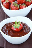 Hot chocolate cream and strawberry beautiful dessert — Stock Photo