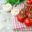 Tomatoes Cherry fresh ripe on the kitchen towel — Stock Photo #5738203