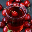 Stock Photo: Glass of fresh cherry juice and fresh cherries