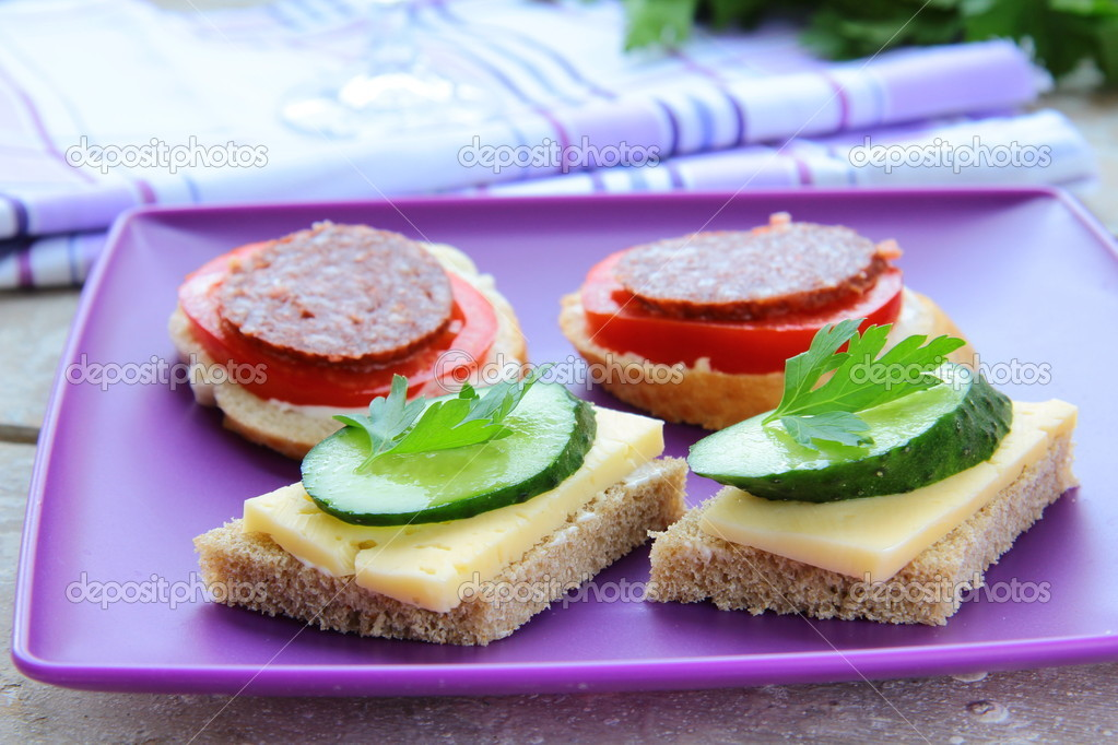 Canape sandwiches with cheese and salami on the purple for Canape wraps