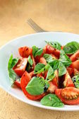 Salad of fresh tomatoes with basil and balsamic vinegar — Stock Photo