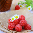 Fresh ripe raspberries still life in a rustic style — Stock Photo