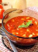 Delicious cold Gazpacho soup in glasses — Stock Photo
