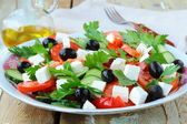 Greek salad with olives, tomatoes and feta cheese — Stock Photo