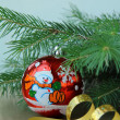 New Year tree fir with Christmas decorations — Foto de Stock