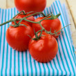 Tomatoes Cherry fresh ripe on the kitchen towel — Stock Photo #6080205