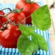 Tomatoes Cherry fresh ripe on the kitchen towel — Stock Photo
