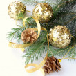 New Year tree fir with Christmas decorations — Stock Photo