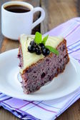 Piece of fruit currant cake on white plate — Stock Photo