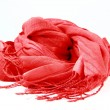 Stylish red scarf womon white background — Stock Photo #6595435