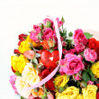Bouquet of multicolored roses, small sprays, with a heart — Stockfoto