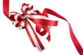 Shiny red ribbon bow — Stock Photo