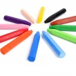 Colored wax crayons on isolated — Stock Photo
