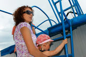 Mother and daughter on a vessel board — Stock Photo