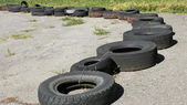 Row of old tires — Stock Photo