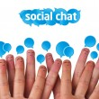 Royalty-Free Stock Photo: Happy group of finger smileys with social chat sign