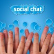 Stock Photo: Happy group of finger smileys with social chat sign