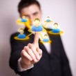 Hand pressing Social network icon — Stock Photo #5389760