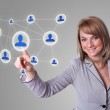 Woman hand pressing Social Network icon — Stock Photo #5389772