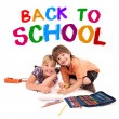Kids posing for back to school theme — Stock Photo