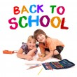 Kids posing for back to school theme — Stok fotoğraf