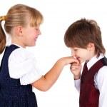 Little boy kissing hand — Stock Photo