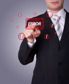 Man pressing ERROR button — Stock Photo