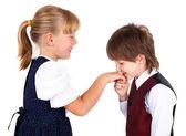 Menino, beijando a mão — Foto Stock