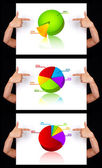 Hand pointing to dimensional chart collection — Stockfoto