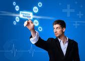 Doctor pressing digital button — ストック写真