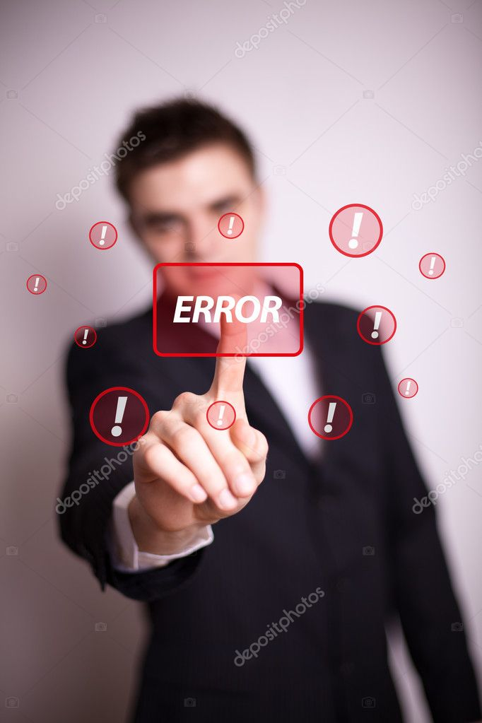 Man pressing error button with one hand   Stock Photo #5389756