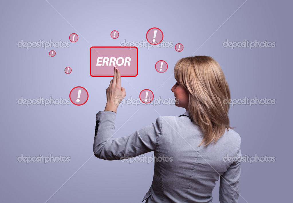 Woman hand pressing ERROR button — Stock Photo #5389791