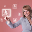 Woman hand pressing Social Network icon — Stock Photo #5437041