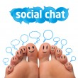 Happy group of finger smileys with social chat sign — Stock Photo