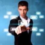 Man pressing digital button — Stock Photo #5437099