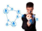 Diagram zobrazeno sociální sítě koncepce — Stock fotografie