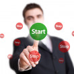 Hand pressing START button — Stock Photo