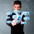Man pressing social network icon — Stock Photo #5446026