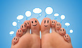 Happy group of finger smileys with social network sign — Stock Photo