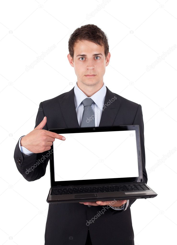 Business man pointing at a laptop computer isolated — Stock Photo #5445996